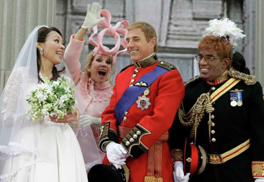 "Co-hosts, from left, Ann Curry as Kate Middleton,  Kathie Lee Gifford as Princess Beatrice, Matt Lauer as Prince William, left, and and Al Roker as Prince Harry, are shown on the NBC ""Today"" television program's annual Halloween show, in New York, Monday, Oct. 31, 2011.  (AP Photo/Richard Drew) Photo: Richard Drew, Associated Press / AP"