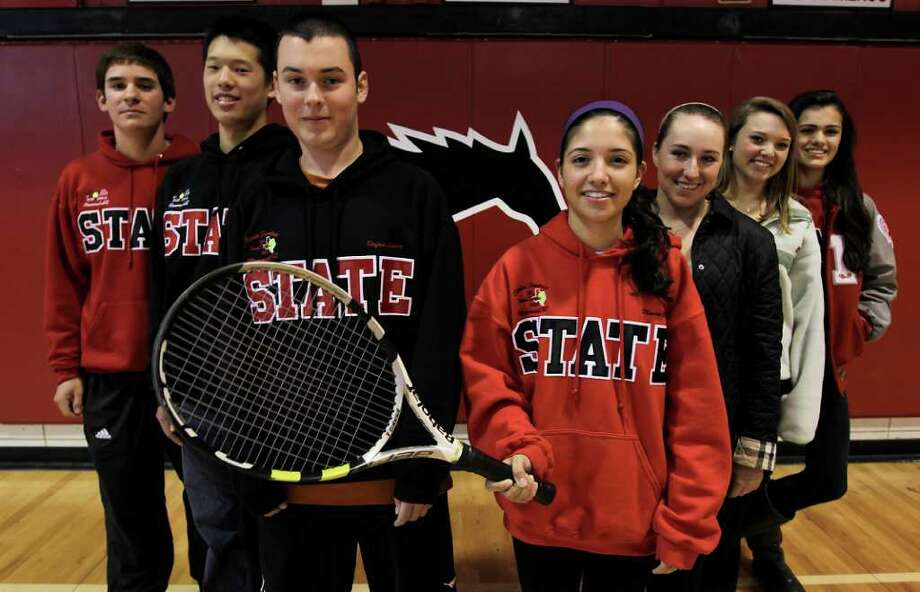 Memorial High School tennis players (l-r) Christian Vieira, William Jou, Stefan Lemire, Maria Cuervo, Lauren Bender, Katie Davis, and Alexia Karpen at Memorial High School, Wednesday, Feb. 9, 2011, in Houston.The team did really well in the fall team tennis season, making it all the way to the state finals before falling to tennis powerhouse New Braunfels. Now the team is getting ready for the spring season and is one of the ones to beat in the area. ( Karen Warren / Houston Chronicle ) Photo: Karen Warren / Houston Chronicle