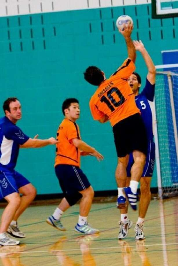 PHOTO COURTESY OSCAR GRISALES ON THE SHOT: Oscar Grisales, No. 10, goes in for a shot at the goal in a recent Team Handball match. Photo: COURTESY OSCAR GRISALES