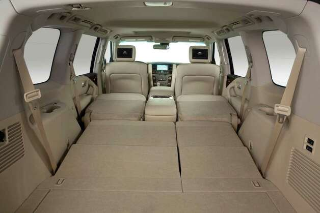 Folding all of the rear seats creates a cavernous cargo area in the 2012 Infiniti QX56 sport utility vehicle. With all seats in place, there is 16.5 cubic feet of cargo space. COURTESY OF NISSAN NORTH AMERICA INC. Photo: Nissan North America, COURTESY OF NISSAN NORTH AMERICA INC.