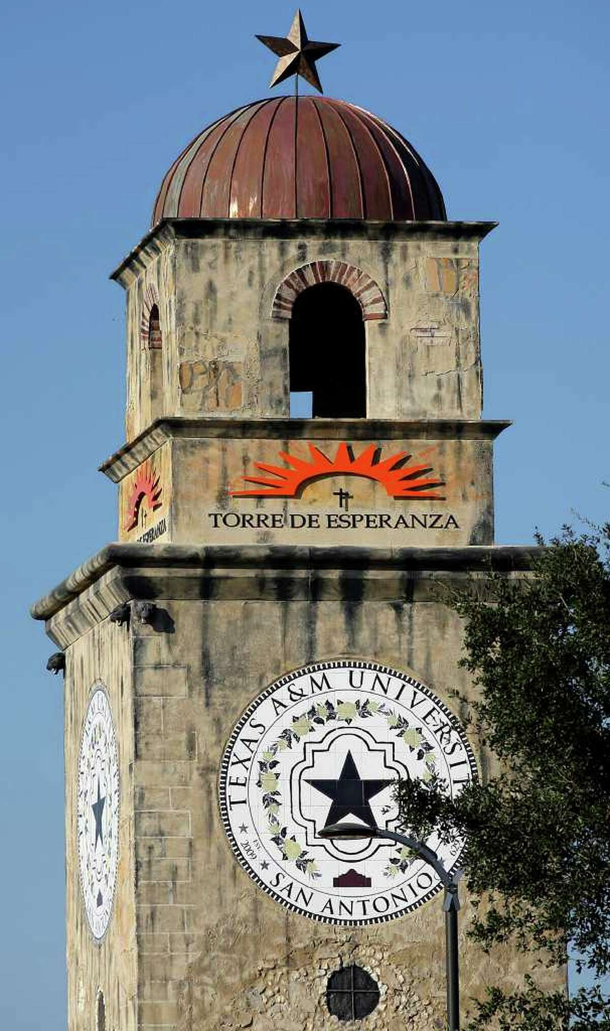 A spokeswoman for Texas A&M University-San Antonio says the crosses are meant to evoke the Spanish missions. She said the university had an opportunity to review the design.
