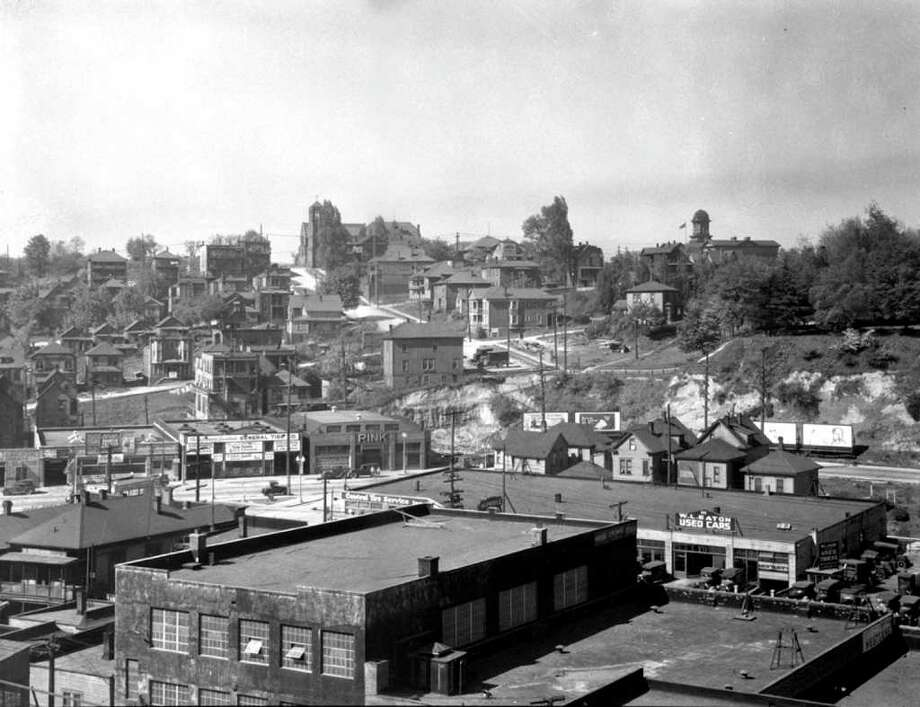 A smaller Denny Hill looking west from the New Brunswick Hotel, May 7, 1928. Photo: Seattle Municipal Archives