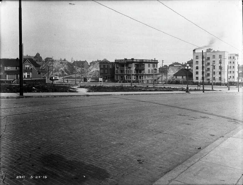 The Denny regrade area from Fourth and Virginia, March 23, 1915.