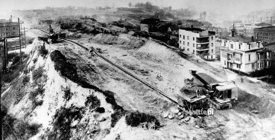 An undated photo of the Denny regrade. Photo: Seattlepi.com File