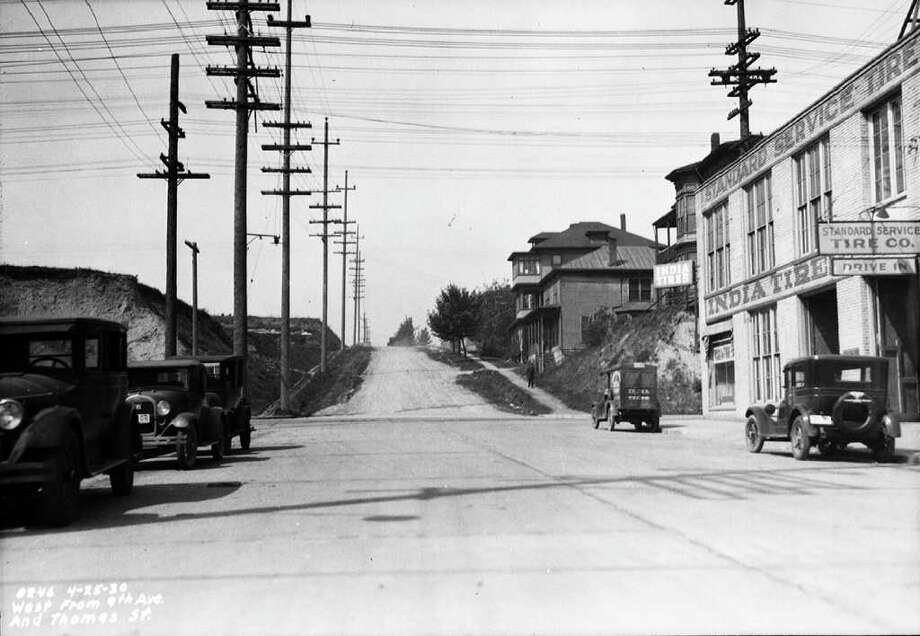 The Denny Hill area looking west from Ninth Avenue and Thomas Street, April 25, 1930. Photo: Seattle Municipal Archives