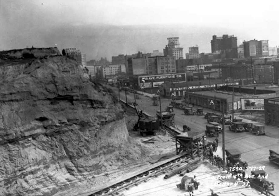 The Denny regrade from 5th and Battery, May 17, 1929. Photo: Seattle Municipal Archives