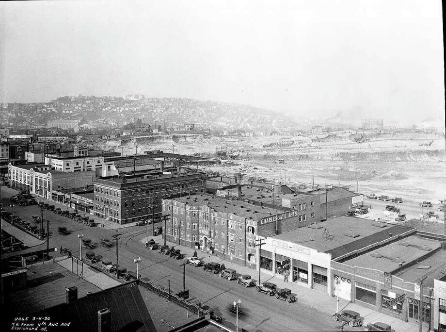 The Denny regrade looking northeast from Fourth Avenue and Blanchard Street., June 1929. Photo: Seattle Municipal Archive