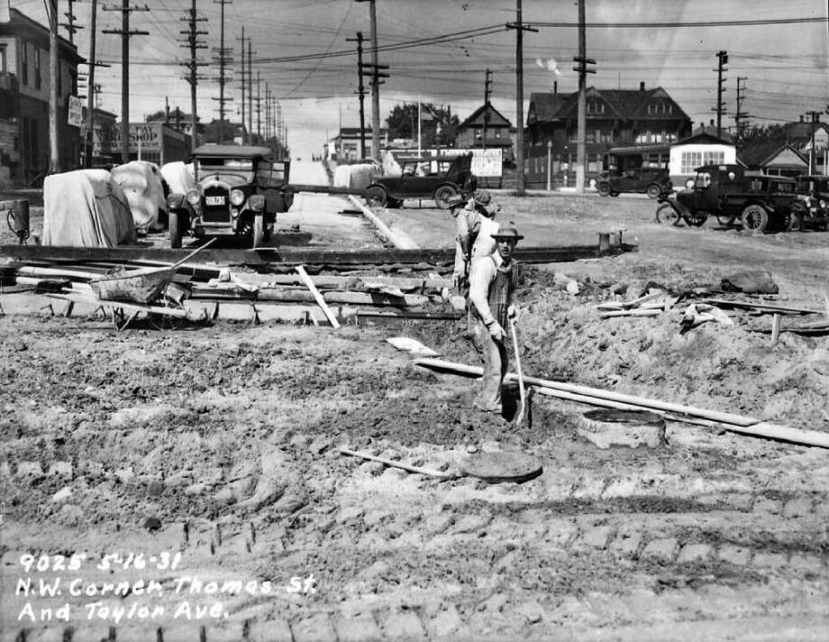 The northwest corner of Thomas Street and Taylor Avenue North, May 16, 1931. Photo: Seattle Municipal Archives
