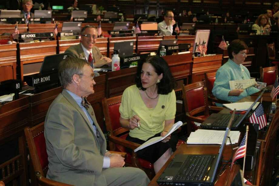State Rep. John Hetherington (R-125) and State Rep. Gail Lavielle (R-143) during the Oct. 26 special session of the General Assembly. Photo: Contributed Photo