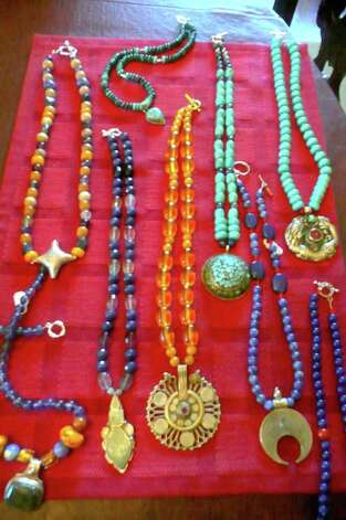Chitra Ramcharandas uses semiprecious stones including turquoise, coral, and blue and red jade in her necklace, bracelet and earring creations. Antique pendants also play a part. Photo: Anne W. Semmes