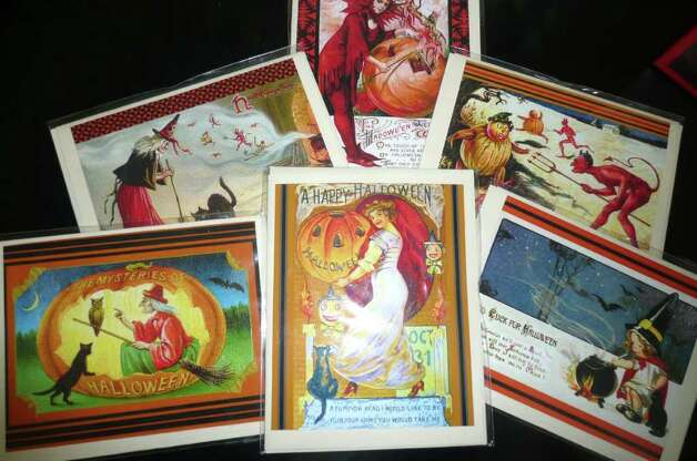 These Halloween note cards, created by Andre Lanoux of Greenwich, feature vintage images Lanoux searched out on the Internet. Photo: Anne W. Semmes
