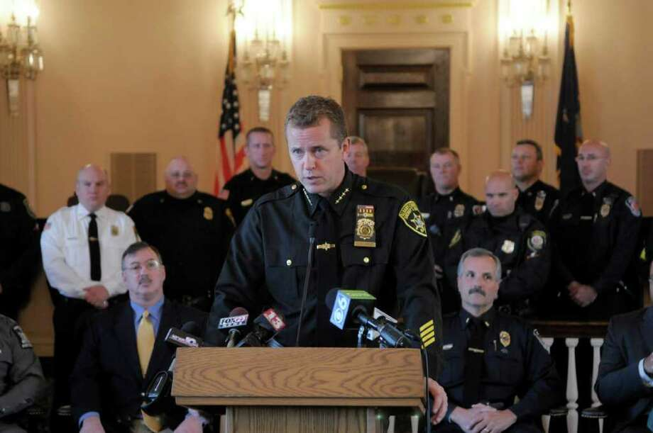 Albany County Acting Sheriff Craig Apple addresses those gathered during a press conference on Tuesday, Nov. 1, 2011 in Albany where the results of the  Albany County Sheriff's Department recent DWI checkpoints were announced.   (Paul Buckowski / Times Union) Photo: Paul Buckowski / 00015231A