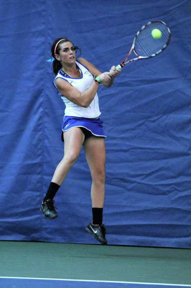 Shaker High's Cat Crummey defeats Guilderland's Gaby Peda (not shown) during the Section II girls tennis finals at Sportime on Tuesday Nov. 1, 2011 in Rotterdam, NY.  (Philip Kamrass / Times Union ) Photo: Philip Kamrass / 00015212A