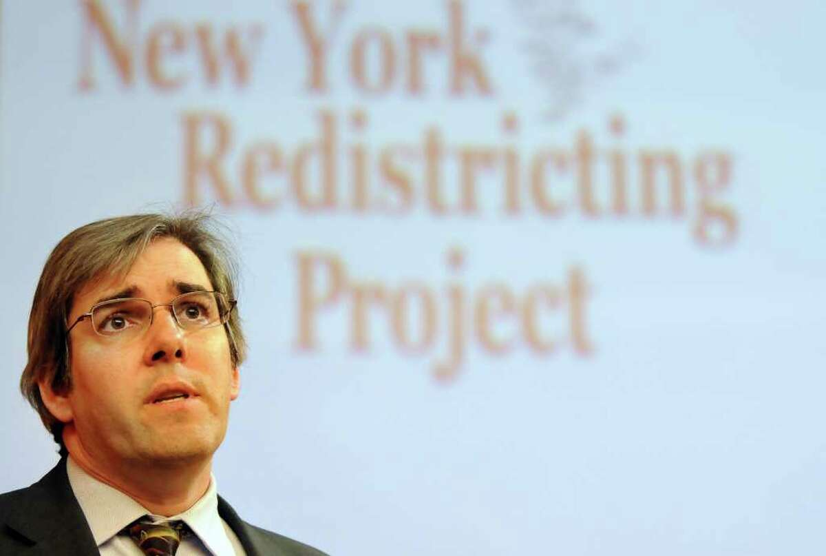 Michael P. McDonald, associate professor of Government and Politics at George Mason University, talks about the 2012 New York Redistricting Project on Tuesday, Nov. 1, 2011, at the Legislative Office Building in Albany, N.Y. (Cindy Schultz / Times Union)