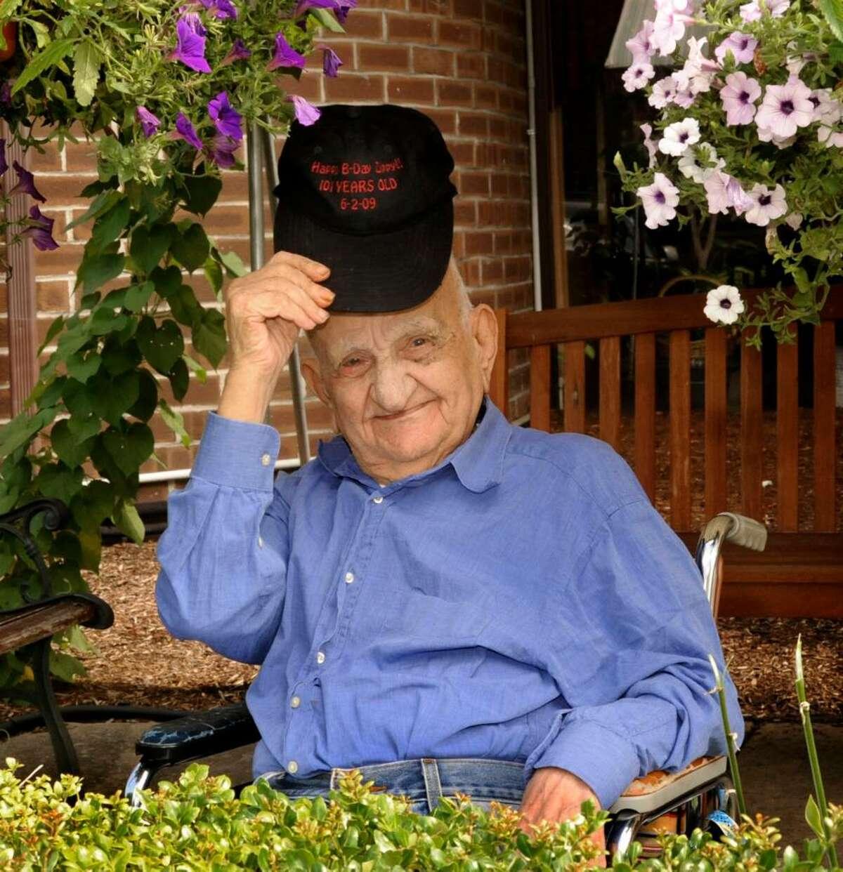 Genaro Zipparo, who turned 101 this June, outside Danbury HealthCare on thursday.