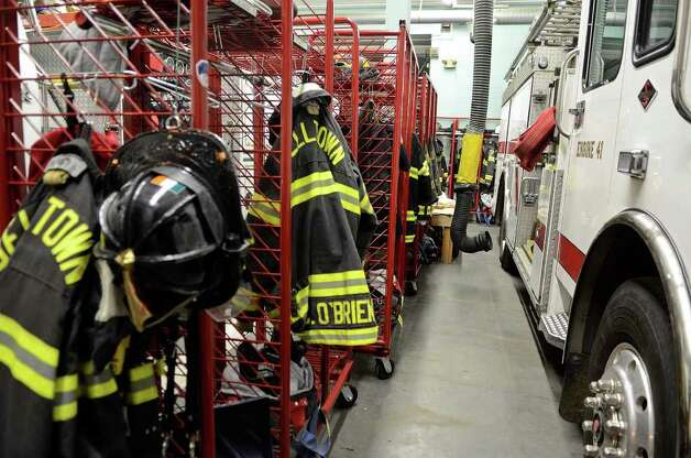 Equipment stands at the ready before the Belltown Fire Department practices search-and-rescue training drills at their firehouse on Dorlen Road in Stamford, CT on Tuesday evening November 1, 2011. Photo: Shelley Cryan / Shelley Cryan freelance; Stamford Advocate freelance
