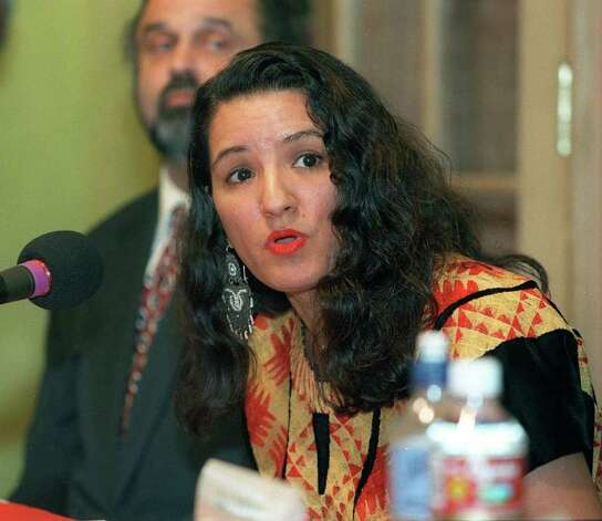 salife ramos Sandra Cisneros,11/13/97 photo by rick hunter.MacArthur Fellows visit san antonio.opening event. Photo: RICK HUNTER