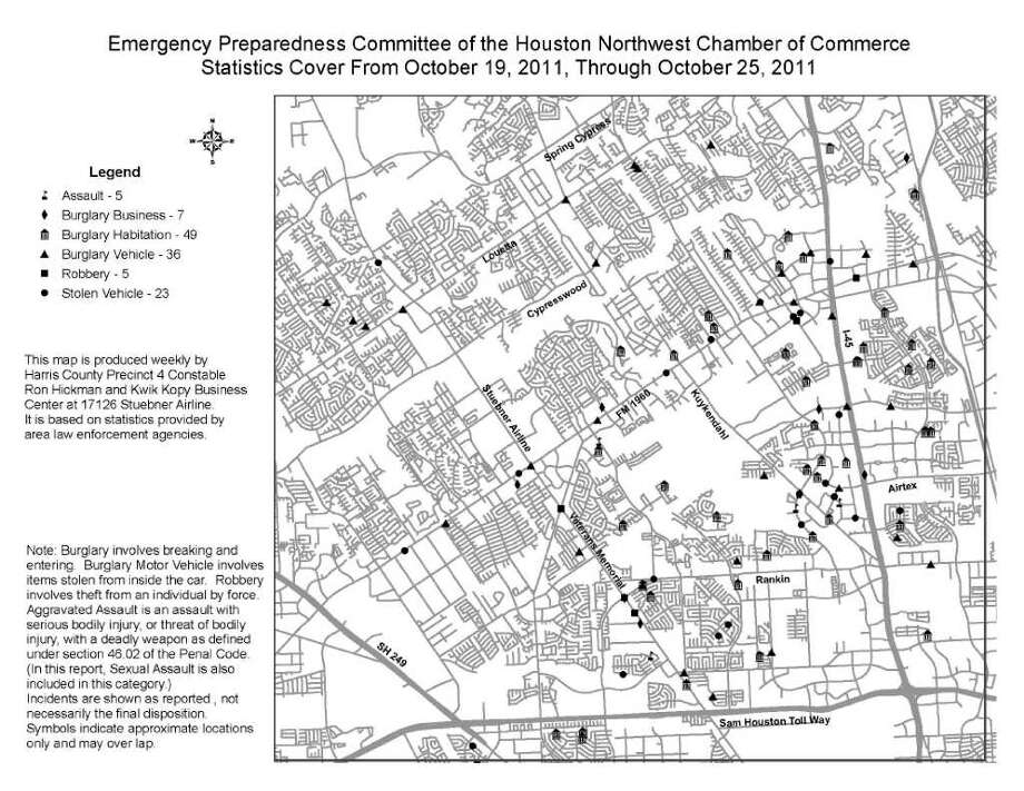 Crime map covering northwest Houston and surrounding communities. / handout