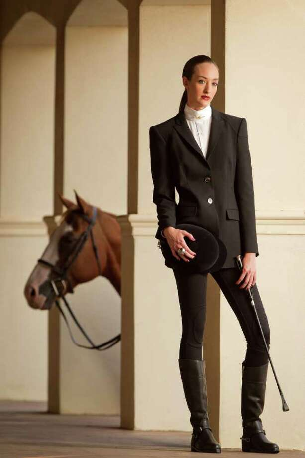 Smiley N. Pool : staff THE FULL LOOK: Get ready to ride in a Burberry jacket, Burberry Brit leggings, Pour la Victoire boots and ring, all from Nordstrom. The Coolmax Collection riding shirt and other accessories are from Charlotte's Saddlery. Photo: Smiley N. Pool, Staff / © 2011  Houston Chronicle