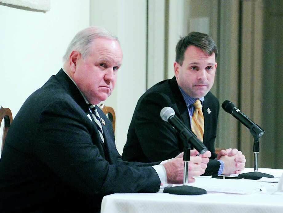 Republican Selectman David Theis left, and Democratic Selectman Drew Marzullo during a debate at the Round Hill Community Church Oct. 19, 2011. Photo: Bob Luckey / Greenwich Time
