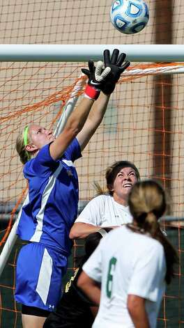 Baylor goalie Courtney Sellhorst gets up to stop a shot by Missouri during the  2011 Big 12 Soccer Championship tournament at Blossom Soccer Stadium on  November 2, 2011.  Tom Reel/Staff Photo: TOM REEL, Express-News / © 2011 San Antonio Express-News