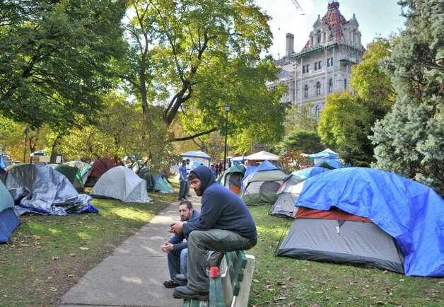 Occupy Albany encampment at Academy Park across from the Capitol in Albany Wednesday Nov. 2, 2011.    (John Carl D'Annibale / Times Union) Photo: John Carl D'Annibale