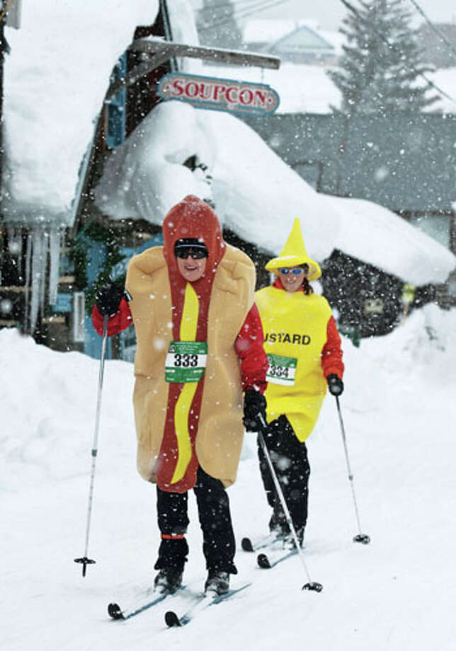 Hot dog skier at Crested Butte Mountain Resort / Dusty Demerson