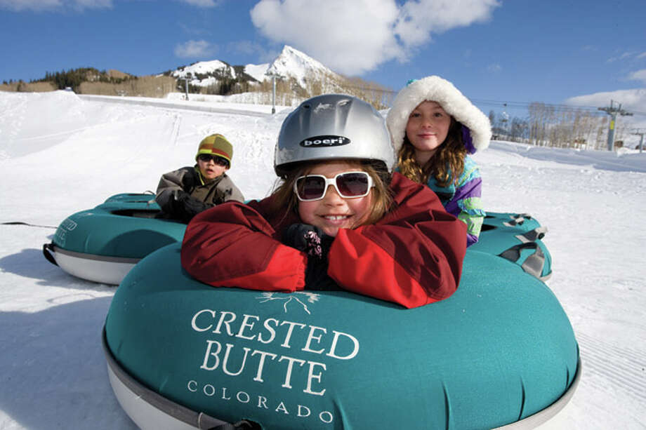 Kis on tubes at Crested Butte Mountain Resort