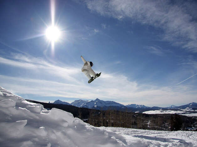 Snowboarder Jump, Wilson background at Telluride Ski Resort