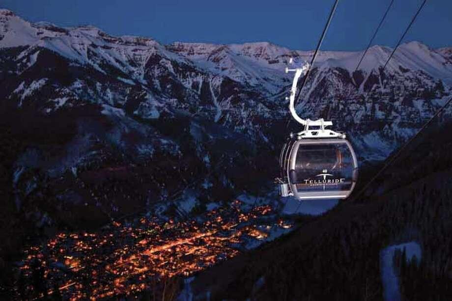 Gondola at Night at Telluride Ski Resort