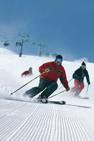 Ski School on Groomed Run at Telluride Ski Resort