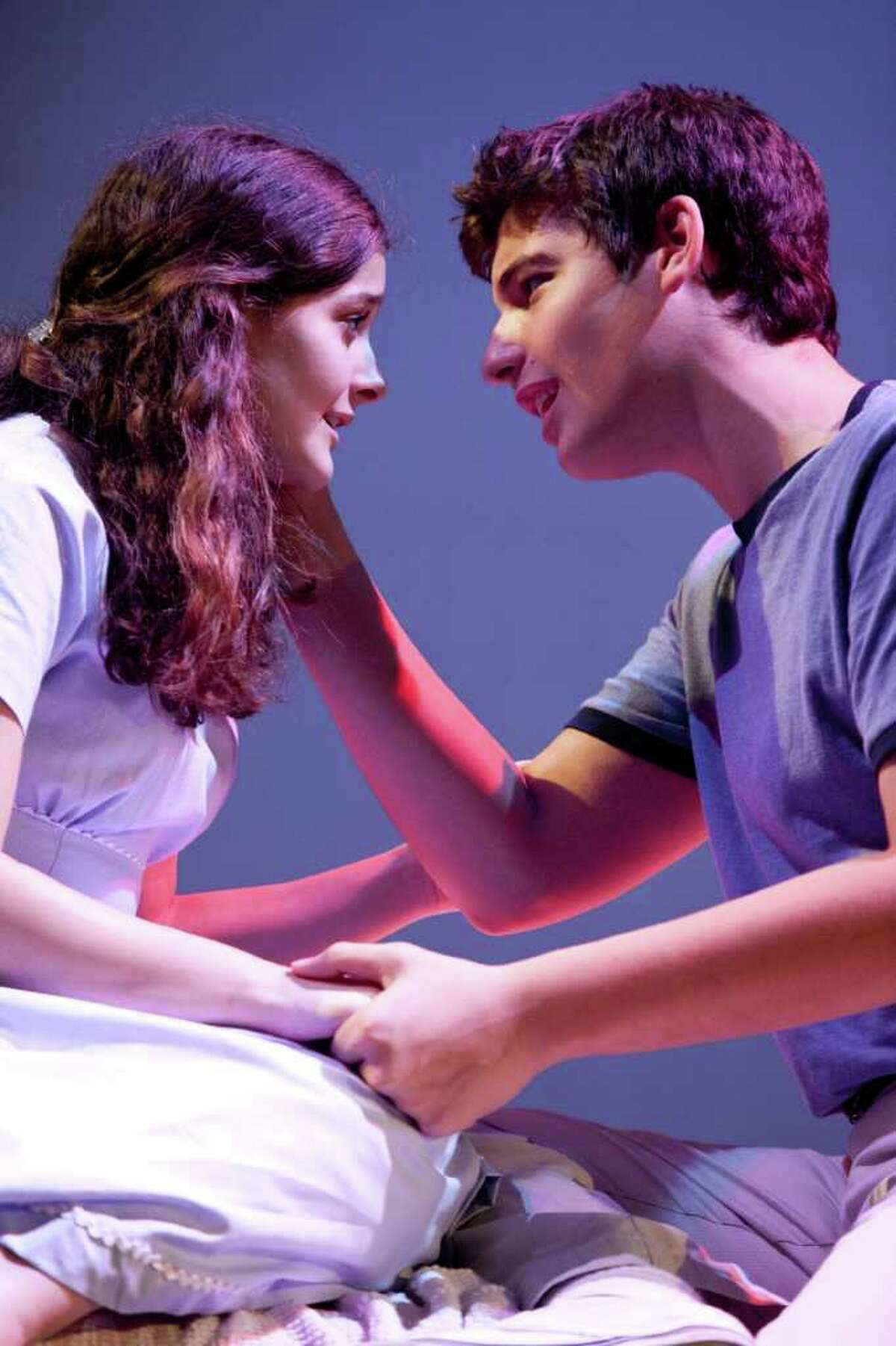 """Grace McDavid Seider and Clay Singer play the star-crossed lovers Maria and Tony in the Staples Players production of """"West Side Story,"""" which opens Friday, Nov. 11 at Staples High School's mainstage theater."""