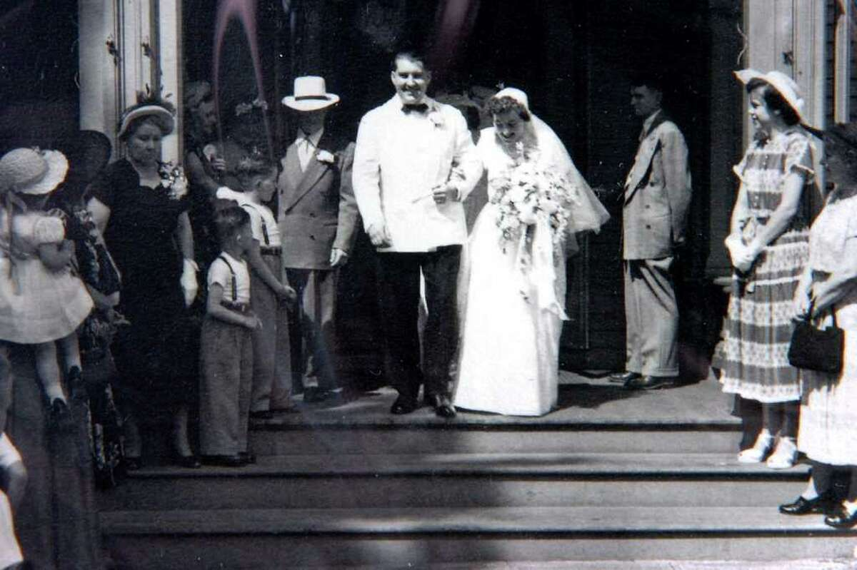 George and Ruth Jarvis leave Assumption Church in Ansonia on their wedding day, June 10th, 1950. The Jarvises both passed away this week, just a day apart. Ruth died Sunday, and George died on Monday.