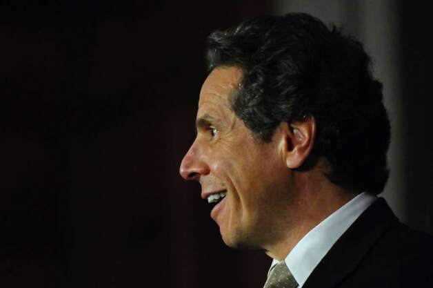 Gov. Andrew Cuomo discusses PEF workers voting in favor of the state's contract proposal, thereby avoiding layoffs, in the Capitol on Thursday  Nov. 3, 2011 in Albany, NY.   (Philip Kamrass / Times Union ) Photo: Philip Kamrass / 00015277A