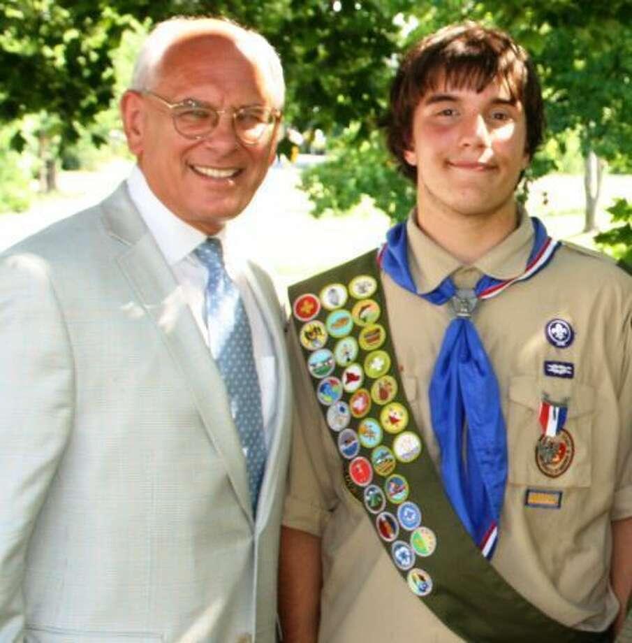 Rep. Paul Tonko, left, congratulates Matthew Gariepy at the Eagle Scout ceremony.