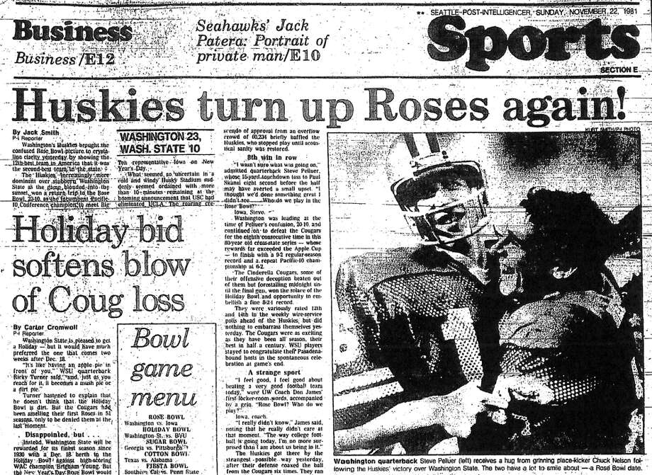 No. 6, Nov. 21, 1981– Washington 23, Washington State 10. A rare occasion on which the Apple Cup determined the Pac-10 champion. The Huskies won to clinch their second consecutive Rose Bowl appearance. Photo: Seattlepi.com