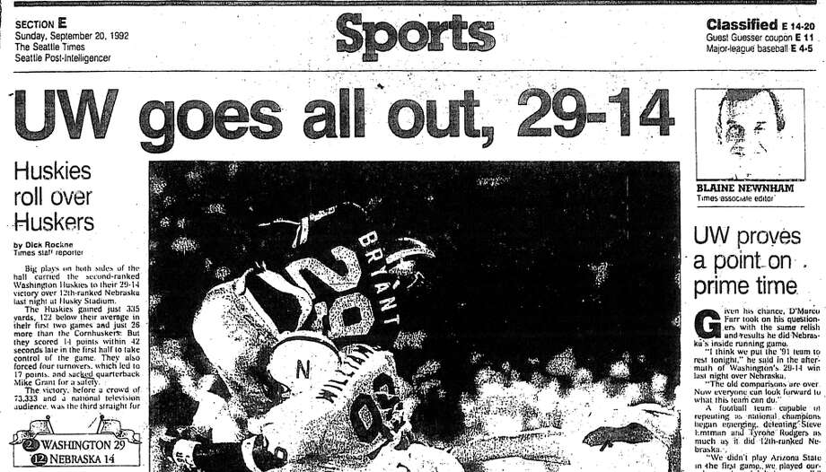 No. 7, Sept. 19, 1992– Washington 29, Nebraska 14. It was perhaps the loudest game in Husky Stadium history, played at night in front of an ESPN audience. Tommie Smith ignited the crowd with a sack of 12th-ranked Nebraska quarterback Mike Grant in the end zone for a safety in the first quarter. Washington moved to No. 1 in the rankings the next week. Photo: Seattlepi.com File