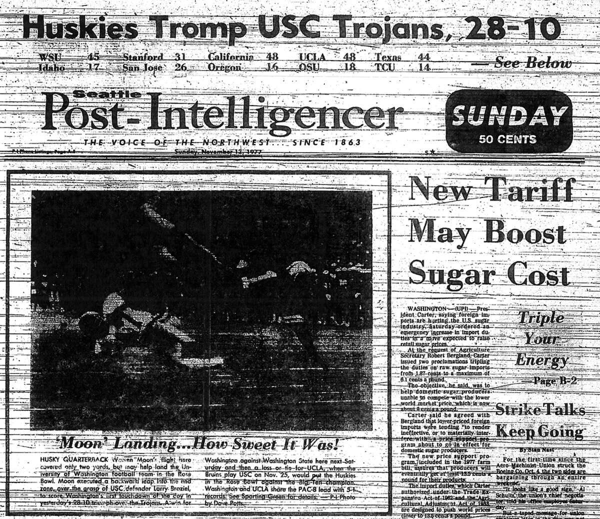No. 9, Nov. 12, 1977 - Washington 28, USC 10. The first of many memorable Husky wins over USC in the Don James era. After starting the season 1-3, the Huskies finished 6-1 in Pac-8 play to clinch the first Rose Bowl appearance of James' career. This win over USC was perhaps the defining moment of that season, and marked the beginning of UW's perennial competition with the Trojans for the conference crown.