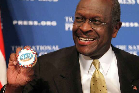 In this Oct. 31, 2011, photo, Republican presidential candidate Herman Cain holds up a muffin that has his catch-phrase 9-9-9 tax plan printed on it, before speaking at the National Press Club in Washington. Cain has made humor a central to his candidacy for the Republican presidential nomination. When his jokes raise eyebrows, he says he didn't mean to offend. As he fights allegations he sexually harassed two women, Cain is gambling the same line of defense will help defuse his campaign's biggest crisis. (AP Photo/Pablo Martinez Monsivais)