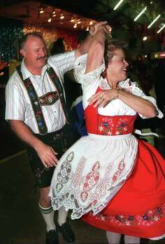 Wurstfest T Reel.     George and Elaine Simko  dance to the  music in the Wursthall Photo: TOM REEL, File 96-