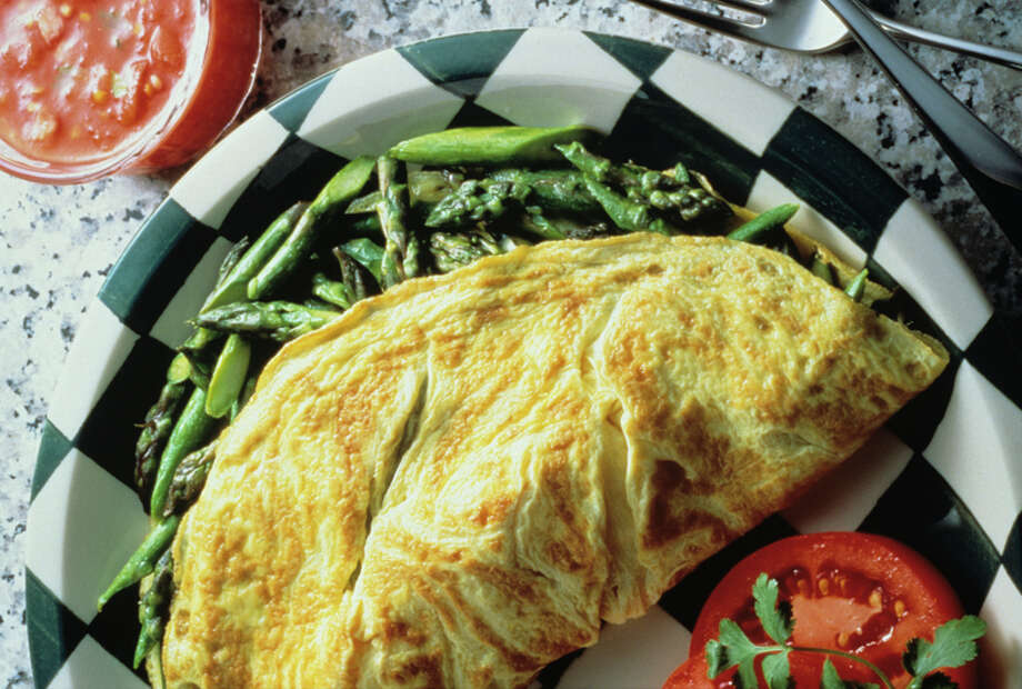 An asparagus omelet provides a substantial breakfast with a little pizazz.