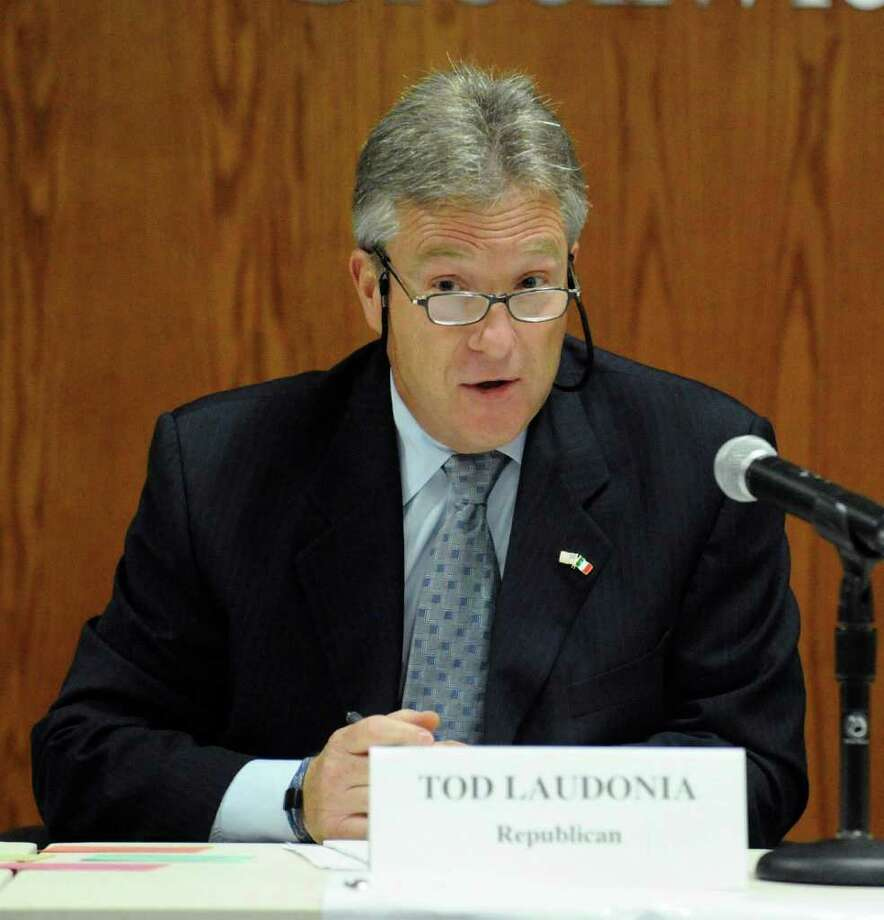 Republican tax collector Tod Laudonia during a debate at Town Hall Sept. 27, 2011. Photo: Bob Luckey, Greenwich Time File / Greenwich Time