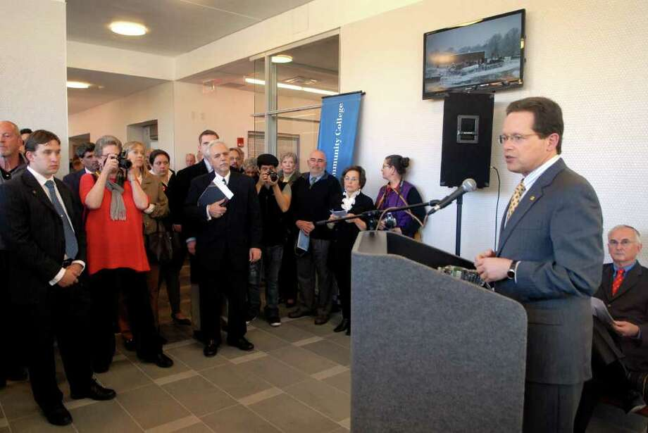 David Levinson, president of Norwalk Community College in Norwalk, Conn., speaks at the official openingof the new Center for Science Health and Wellness, located on the college's West Campus at 188 Richards Ave., on Friday November 4, 2011. Photo: Dru Nadler / Stamford Advocate Freelance