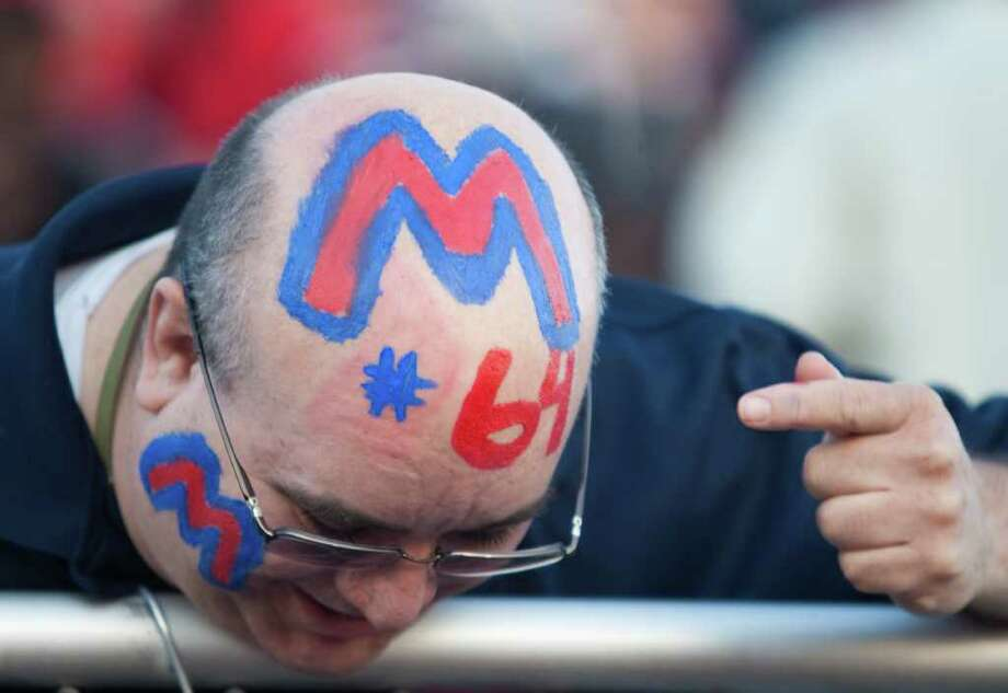 Vincent Ortiz, shows his support for his son Derek Rodriguez and the Manvel Mavericks before a 24 4A high school football game, Friday, Nov. 4, 2011, at The Rig in Pearland. Photo: Nick De La Torre, Houston Chronicle / © 2011  Houston Chronicle