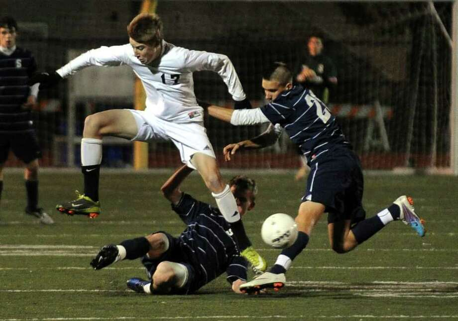 Highlights from FCIAC Boys' Soccer Championship action between Staples and Trumbull in Fairfield, Conn. on Friday November 4, 2011. Photo: Christian Abraham / Connecticut Post