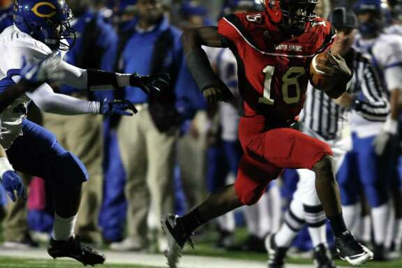 North Shore's Micah Thomas sprints past Channelview's Dwain Taylor during the first half of a District 21-5A high school football game, Friday, November 4, 2011 at Galena Park Stadium in Houston.