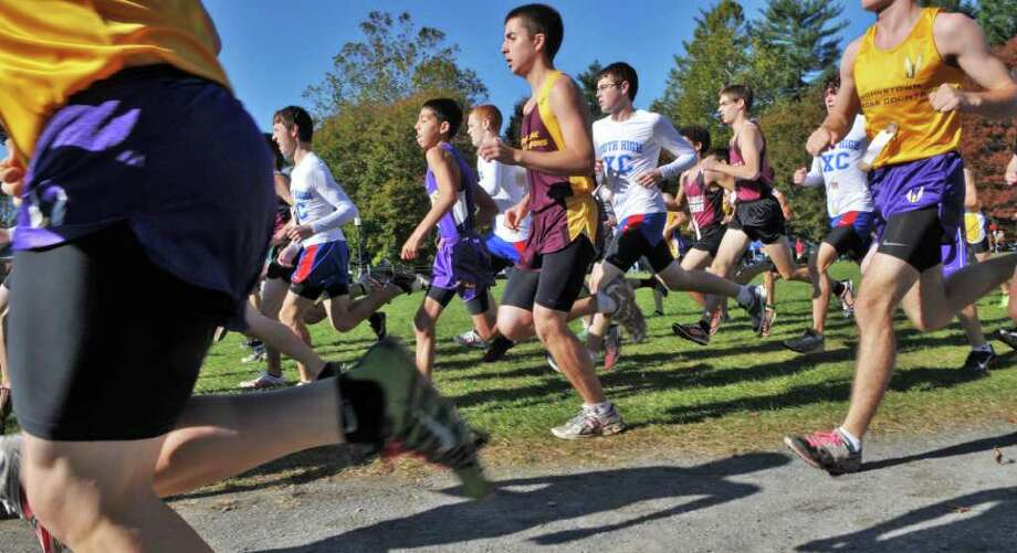 Start of the Boys Class B Section II Cross Country Championship run at Saratoga Spa State Park Friday Nov. 4, 2011.  (John Carl D'Annibale / Times Union) Photo: John Carl D'Annibale / 00015238A