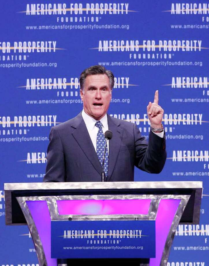 Republican presidential candidate, former Massachusetts Gov. Mitt Romney speaks at the Defending the American Dream Summit, Friday, Nov. 4, 2011, in Washington. (AP Photo/Haraz N. Ghanbari) Photo: Haraz N. Ghanbari