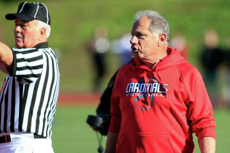 The Head Coach of the Greenwich Cardinals, Richard Albonizio wants to understand what the penalty is during the third quarter of play as the Greenwich Cardinals Varsity Football Team play the Brien McMahan Senators on Saturday, November 5th in Greenwich, Conn. Photo: David E. Johnston