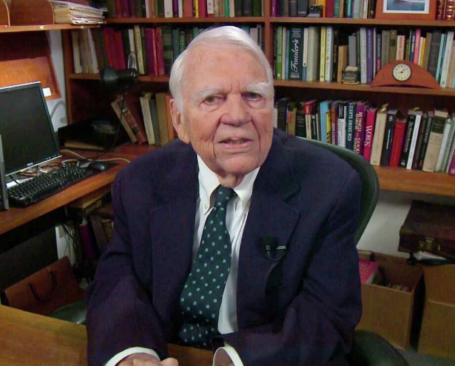 "FILE - In this Aug. 23, 2011 file image taken from video and provided by CBS, Andy Rooney tapes his last regular appearance on ?60 Minutes? in New York. CBS says former ""60 Minutes"" commentator Andy Rooney died Friday, Nov. 4, 2011 at age 92. (AP Photo/CBS) MANDATORY CREDIT; NO SALES; NO ARCHIVE; NORTH AMERICAN USE ONLY / AP2011"